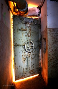 Door to a WW II bunker of the Maginot Fortification, France